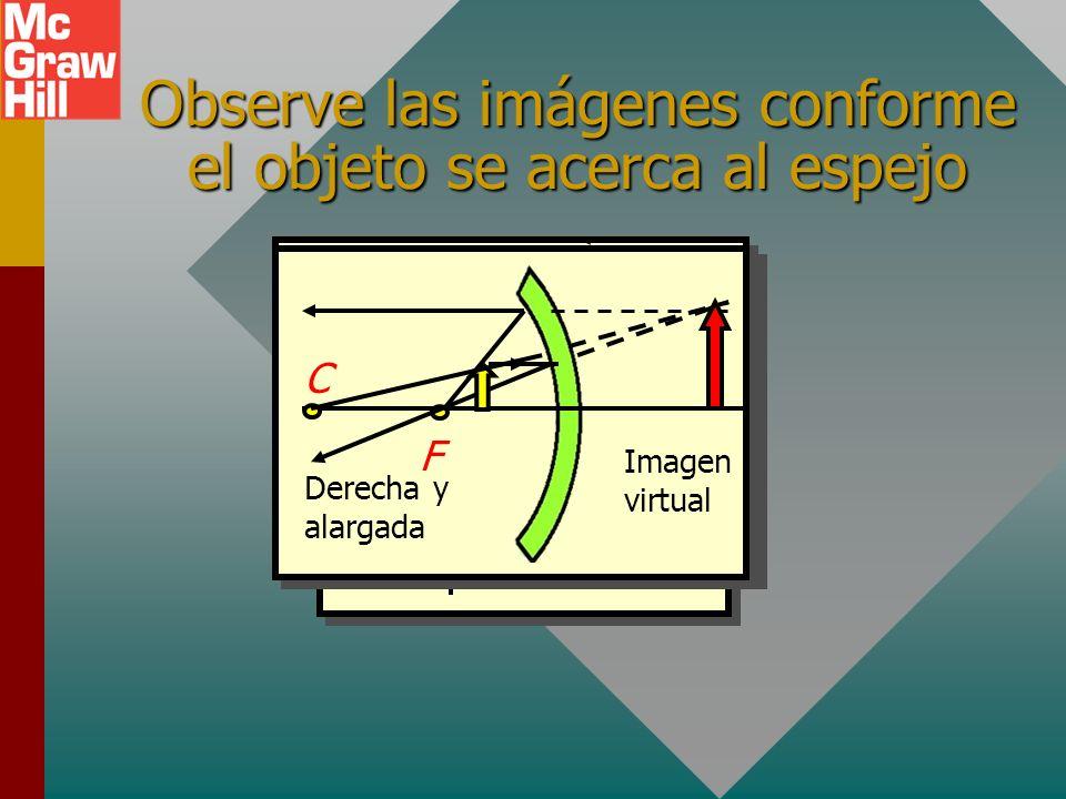 Observe las imágenes conforme el objeto se acerca al espejo