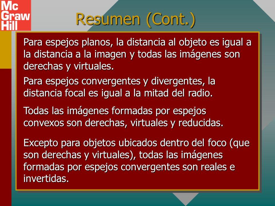 Resumen (Cont.) Para espejos planos, la distancia al objeto es igual a la distancia a la imagen y todas las imágenes son derechas y virtuales.
