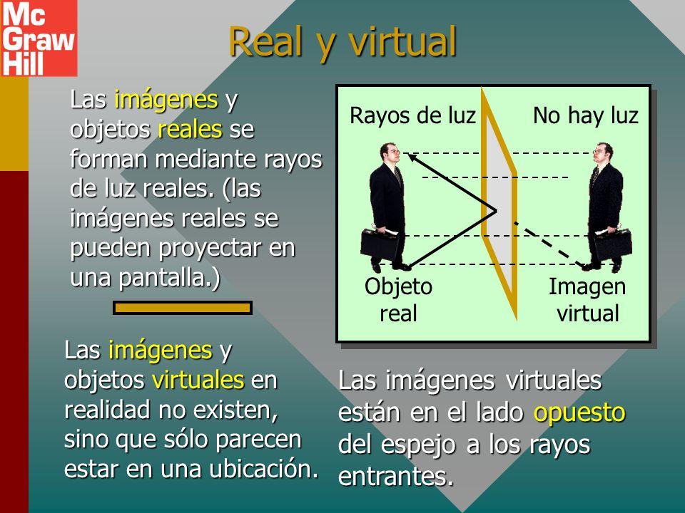Real y virtual Las imágenes y objetos reales se forman mediante rayos de luz reales. (las imágenes reales se pueden proyectar en una pantalla.)