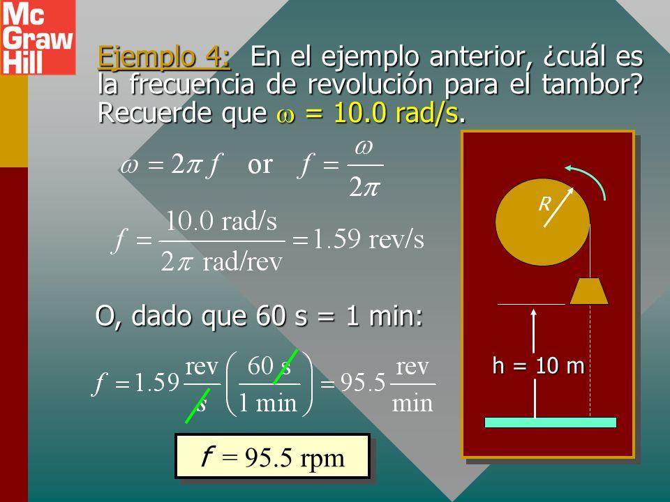 Ejemplo 4: En el ejemplo anterior, ¿cuál es la frecuencia de revolución para el tambor Recuerde que w = 10.0 rad/s.
