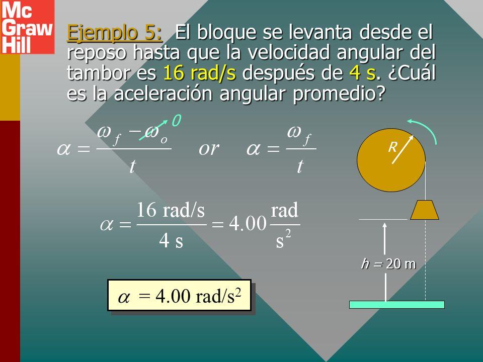 Ejemplo 5: El bloque se levanta desde el reposo hasta que la velocidad angular del tambor es 16 rad/s después de 4 s. ¿Cuál es la aceleración angular promedio