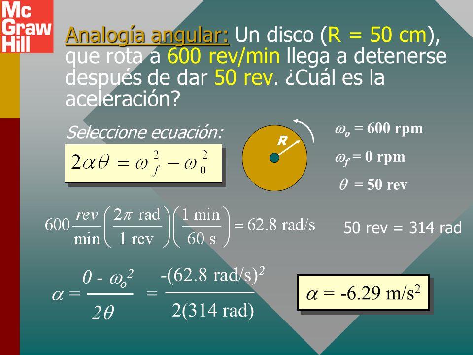 Analogía angular: Un disco (R = 50 cm), que rota a 600 rev/min llega a detenerse después de dar 50 rev. ¿Cuál es la aceleración
