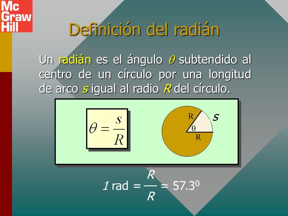 Definición del radián Un radián es el ángulo  subtendido al centro de un círculo por una longitud de arco s igual al radio R del círculo.