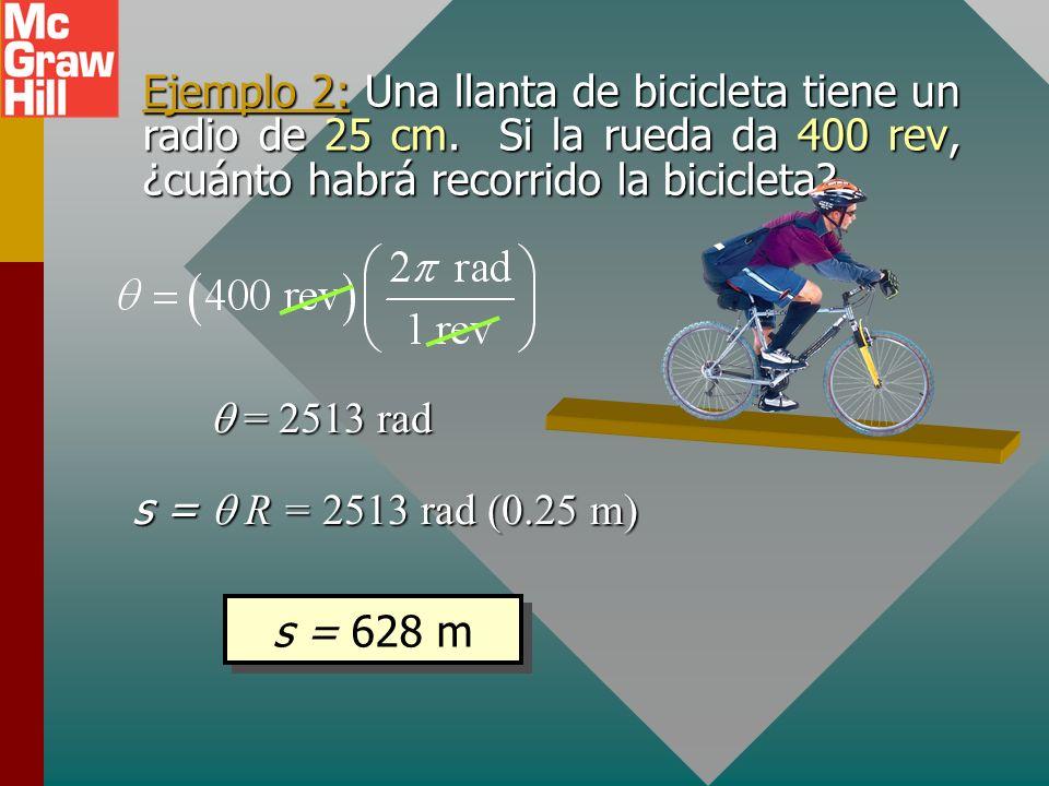 Ejemplo 2: Una llanta de bicicleta tiene un radio de 25 cm