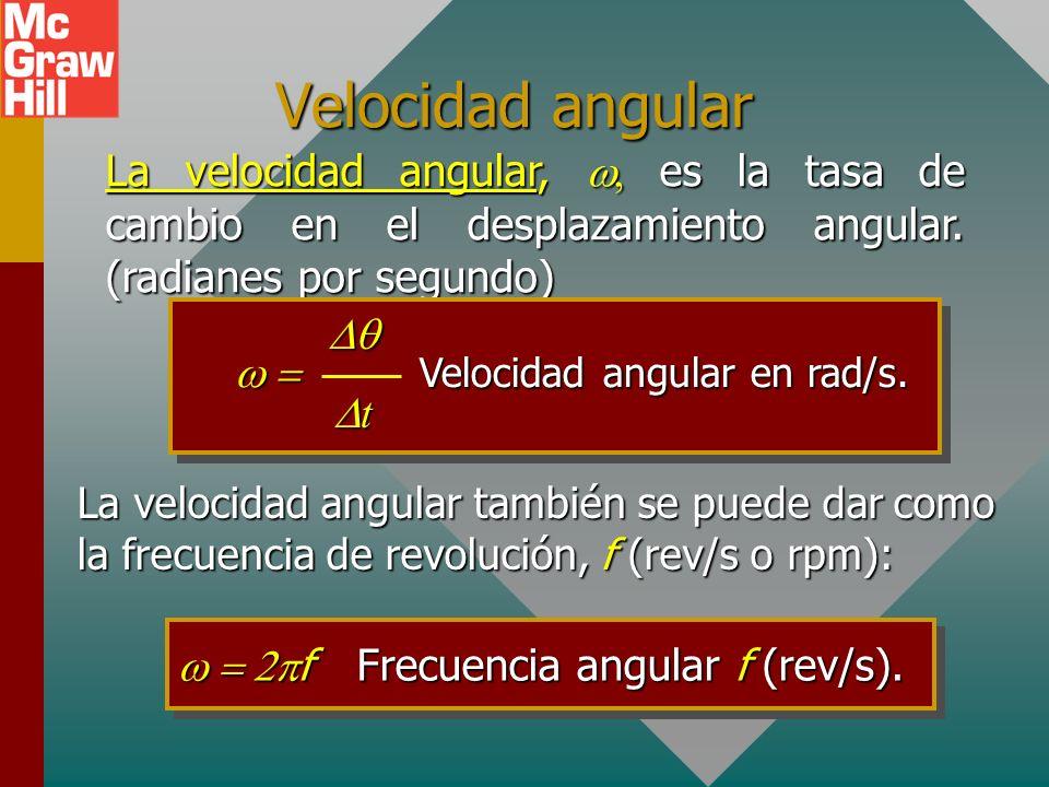 Velocidad angular La velocidad angular, w, es la tasa de cambio en el desplazamiento angular. (radianes por segundo)