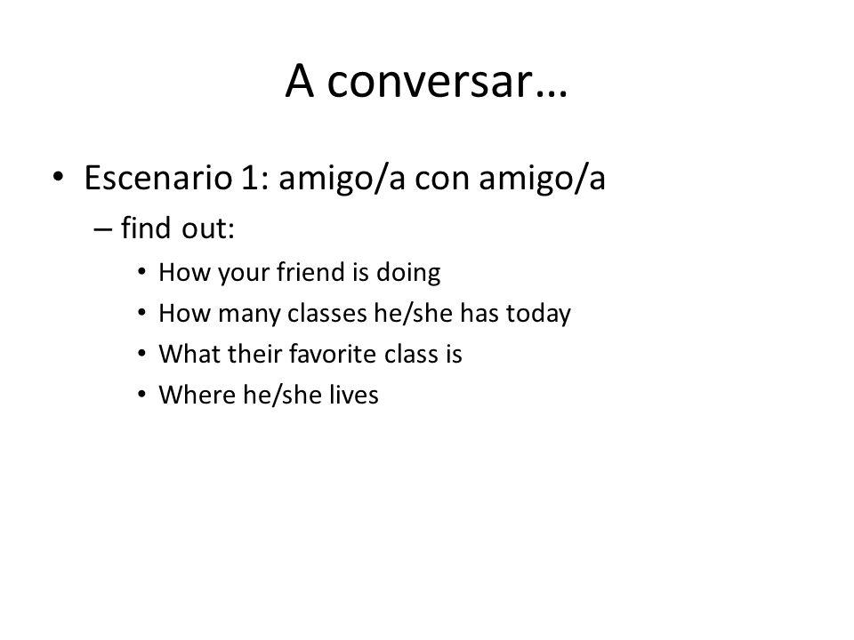A conversar… Escenario 1: amigo/a con amigo/a find out: