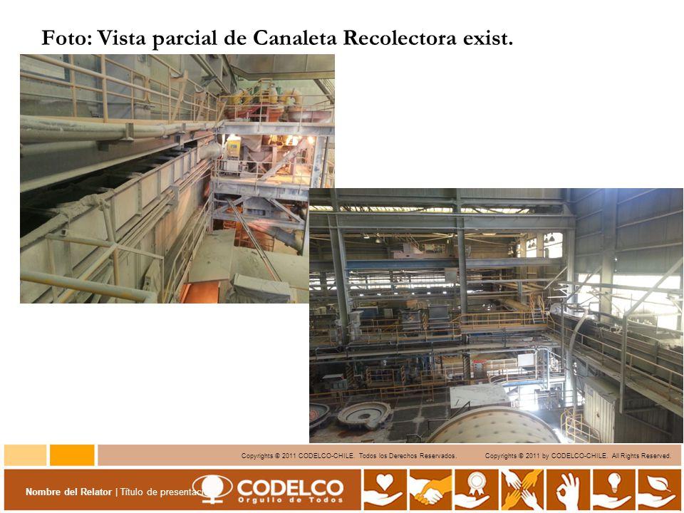 Foto: Vista parcial de Canaleta Recolectora exist.