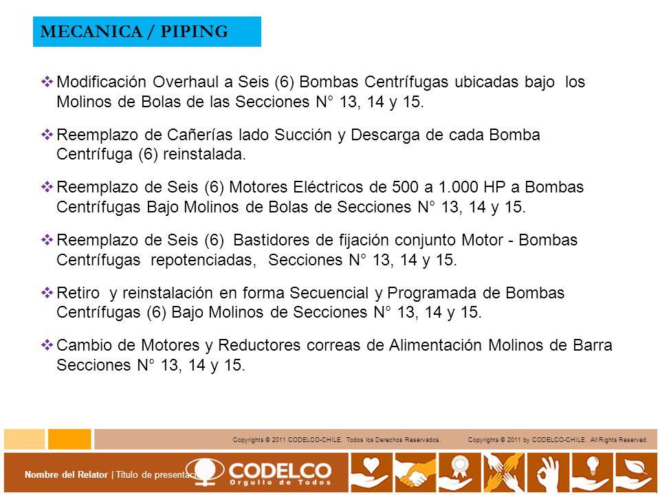MECANICA / PIPING Modificación Overhaul a Seis (6) Bombas Centrífugas ubicadas bajo los Molinos de Bolas de las Secciones N° 13, 14 y 15.