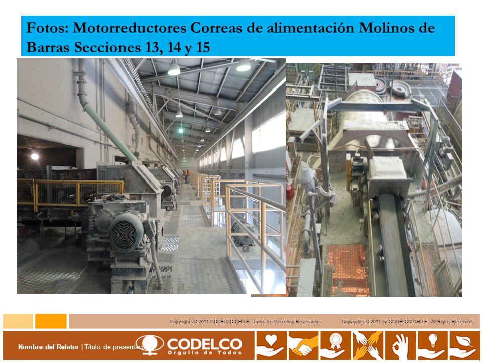 Fotos: Motorreductores Correas de alimentación Molinos de Barras Secciones 13, 14 y 15
