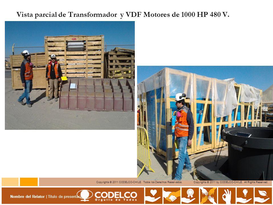 Vista parcial de Transformador y VDF Motores de 1000 HP 480 V.