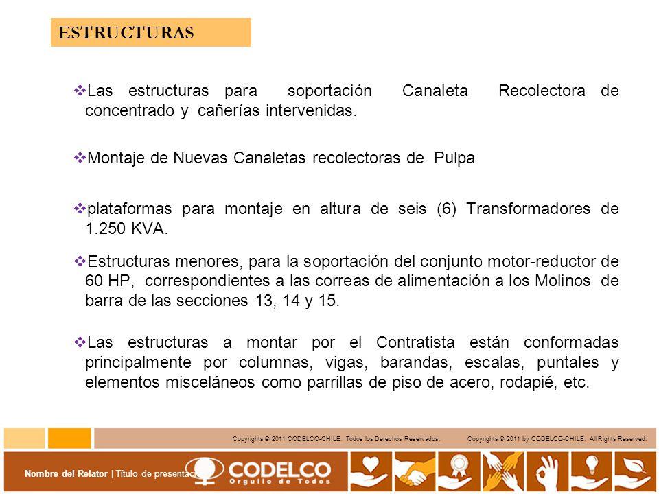 ESTRUCTURAS Las estructuras para soportación Canaleta Recolectora de concentrado y cañerías intervenidas.