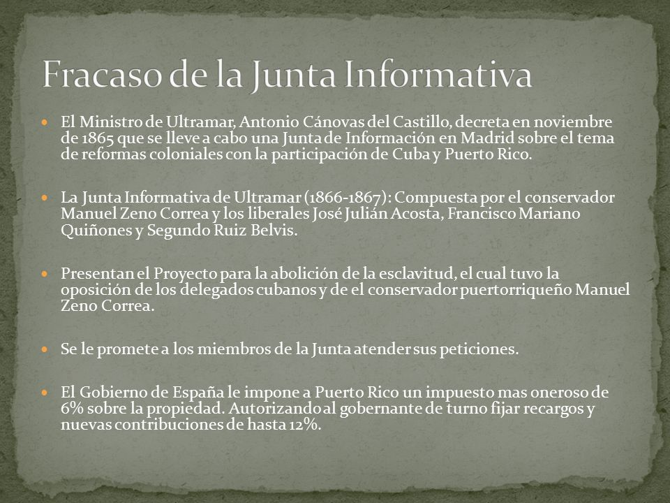 Fracaso de la Junta Informativa
