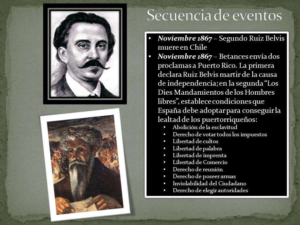 Secuencia de eventos Noviembre 1867 – Segundo Ruiz Belvis muere en Chile.