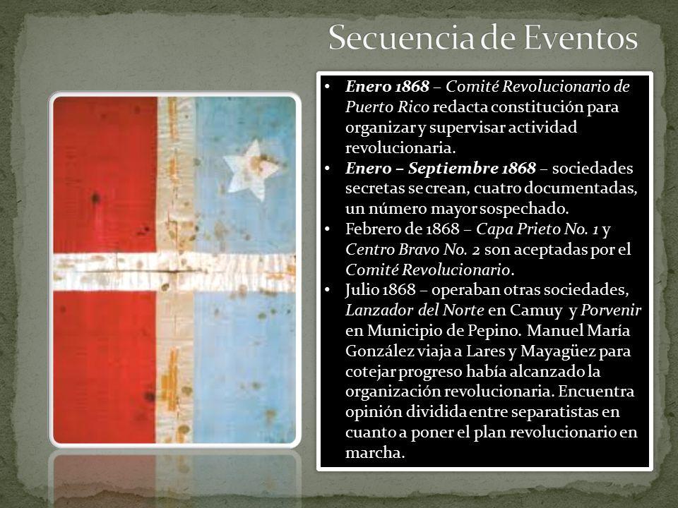 Secuencia de Eventos Enero 1868 – Comité Revolucionario de Puerto Rico redacta constitución para organizar y supervisar actividad revolucionaria.