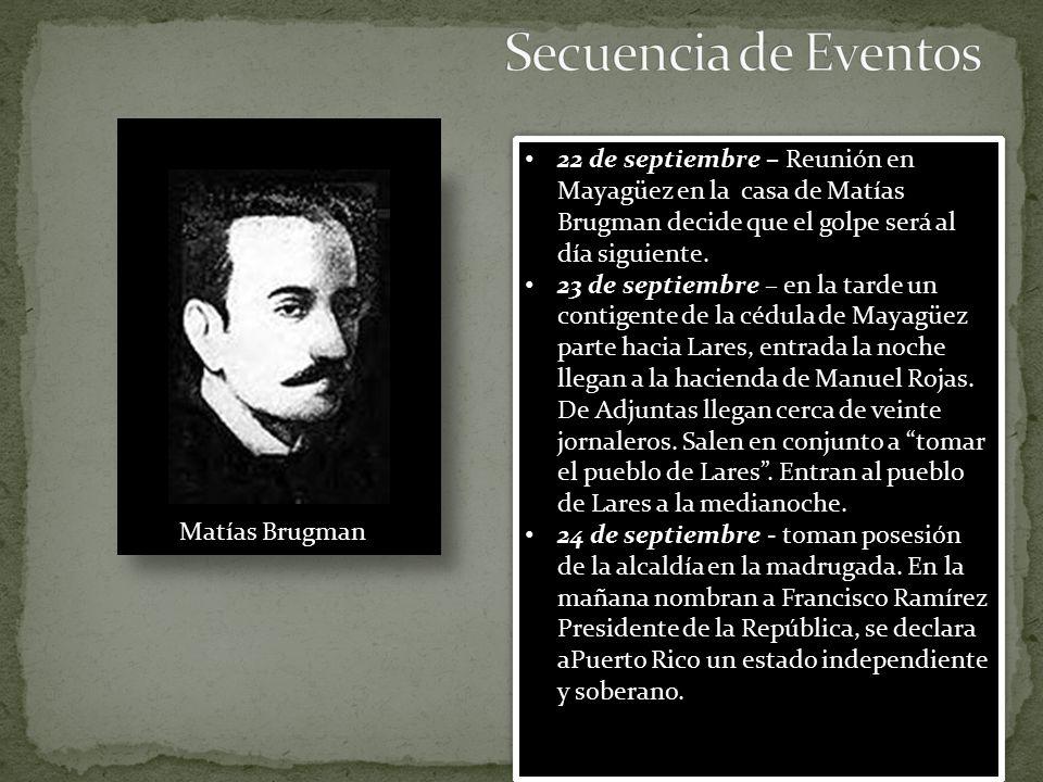 Secuencia de Eventos 22 de septiembre – Reunión en Mayagüez en la casa de Matías Brugman decide que el golpe será al día siguiente.