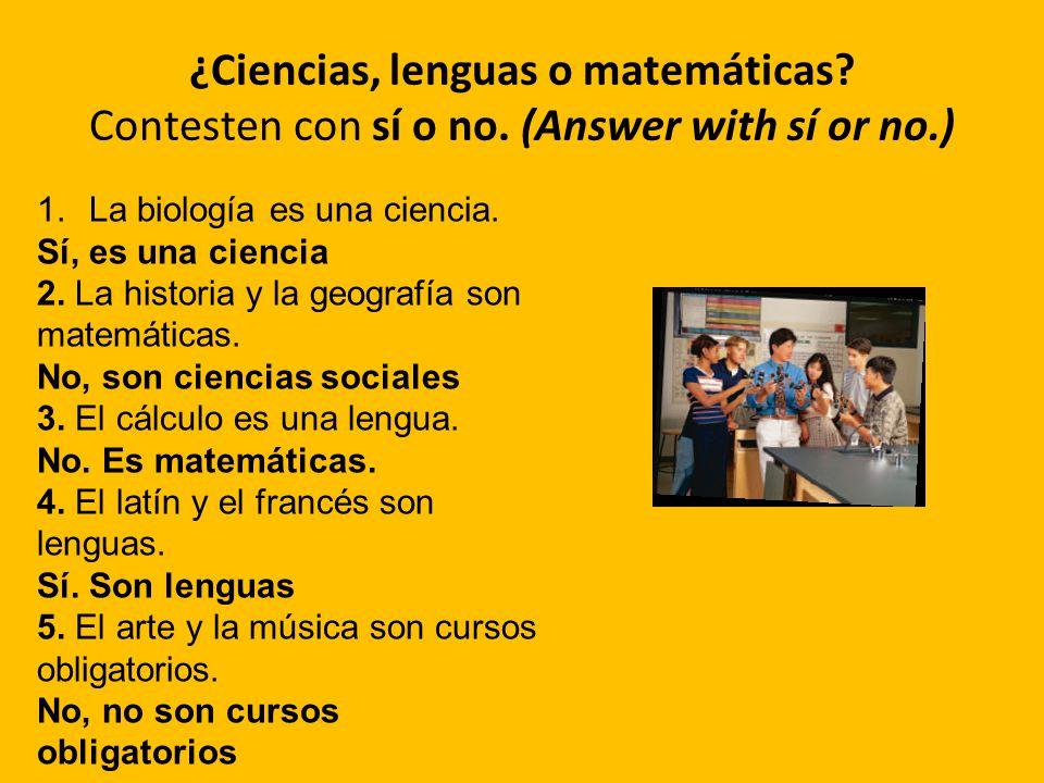 ¿Ciencias, lenguas o matemáticas. Contesten con sí o no