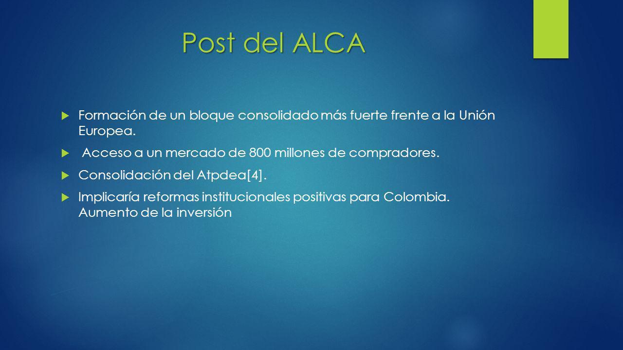 Post del ALCA Formación de un bloque consolidado más fuerte frente a la Unión Europea. Acceso a un mercado de 800 millones de compradores.