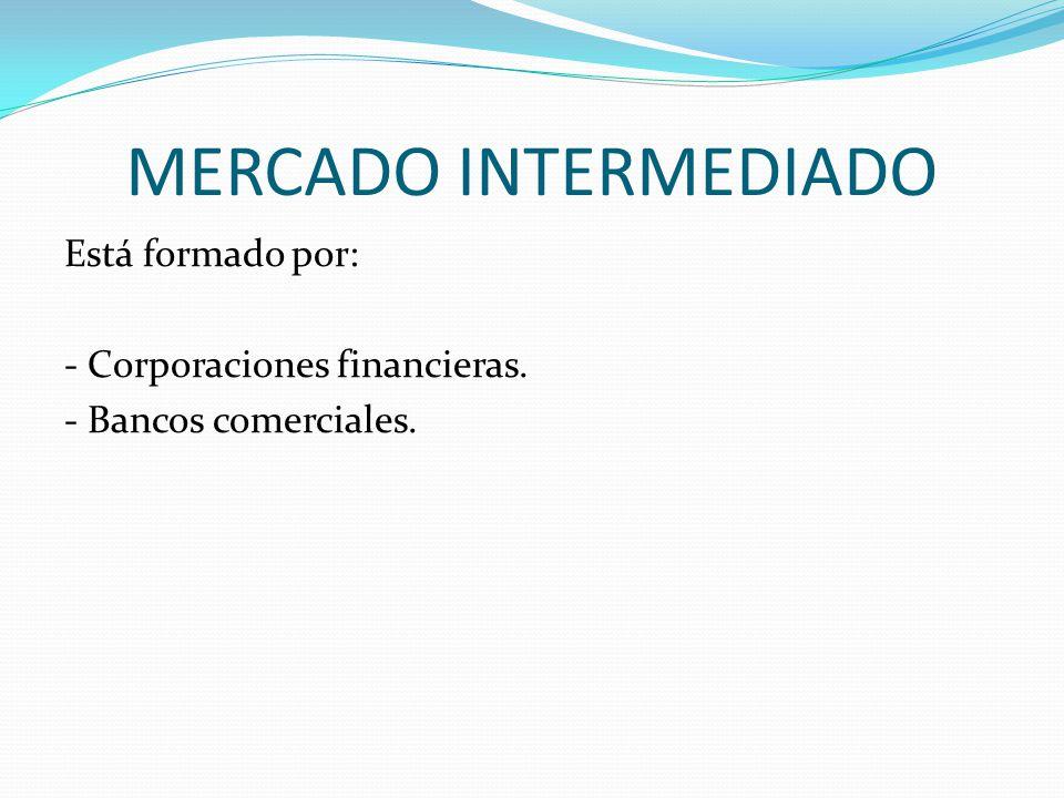MERCADO INTERMEDIADO Está formado por: - Corporaciones financieras. - Bancos comerciales.
