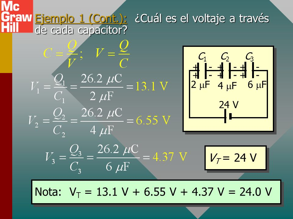 Ejemplo 1 (Cont.): ¿Cuál es el voltaje a través de cada capacitor