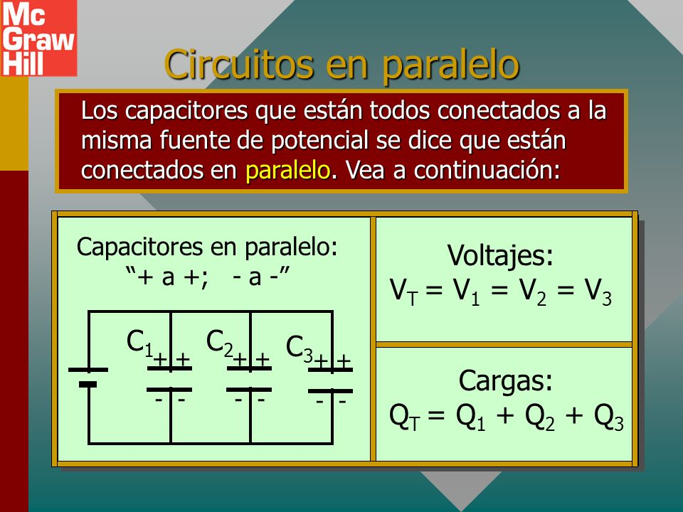 Capacitores en paralelo: + a +; - a -
