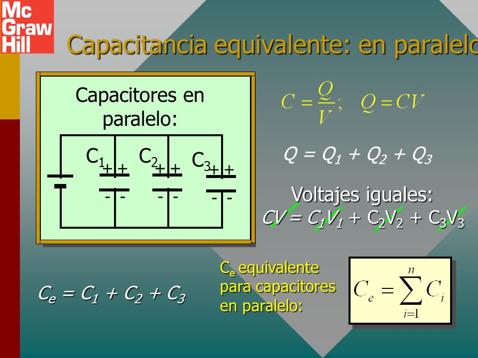 Capacitancia equivalente: en paralelo