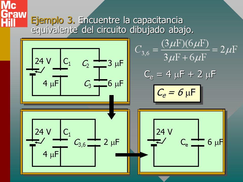 Ejemplo 3. Encuentre la capacitancia equivalente del circuito dibujado abajo.