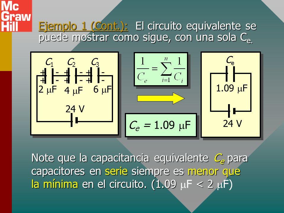 Ejemplo 1 (Cont.): El circuito equivalente se puede mostrar como sigue, con una sola Ce.