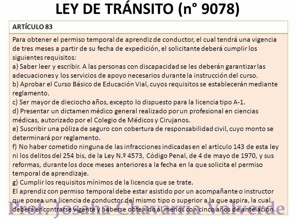 LEY DE TRÁNSITO (n° 9078) ARTÍCULO 83