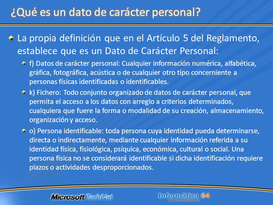 ¿Qué es un dato de carácter personal