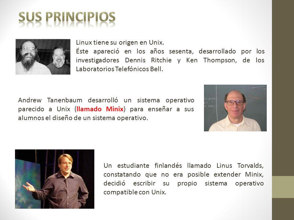 Sus Principios Linux tiene su origen en Unix.