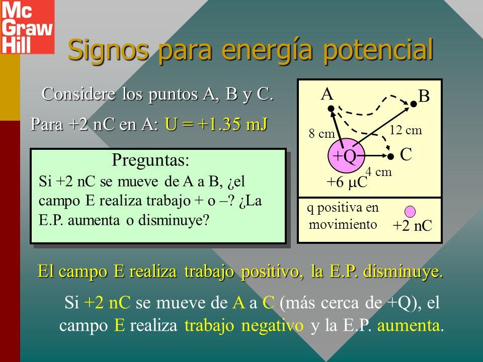 Signos para energía potencial