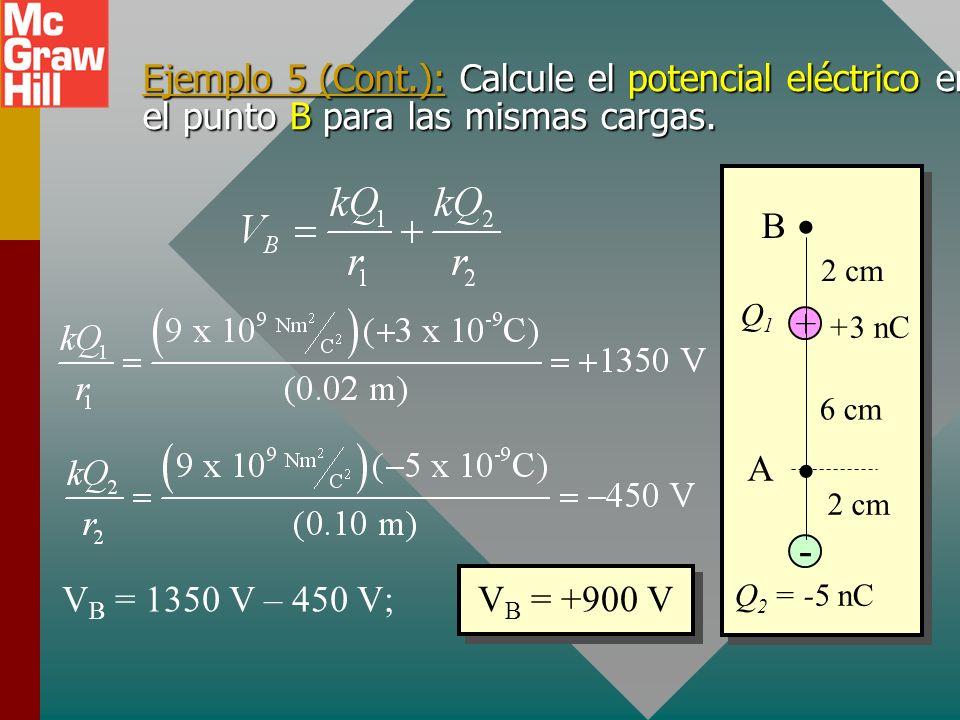 Ejemplo 5 (Cont.): Calcule el potencial eléctrico en el punto B para las mismas cargas.