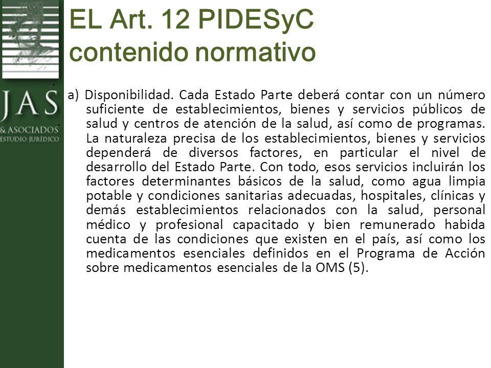 EL Art. 12 PIDESyC contenido normativo