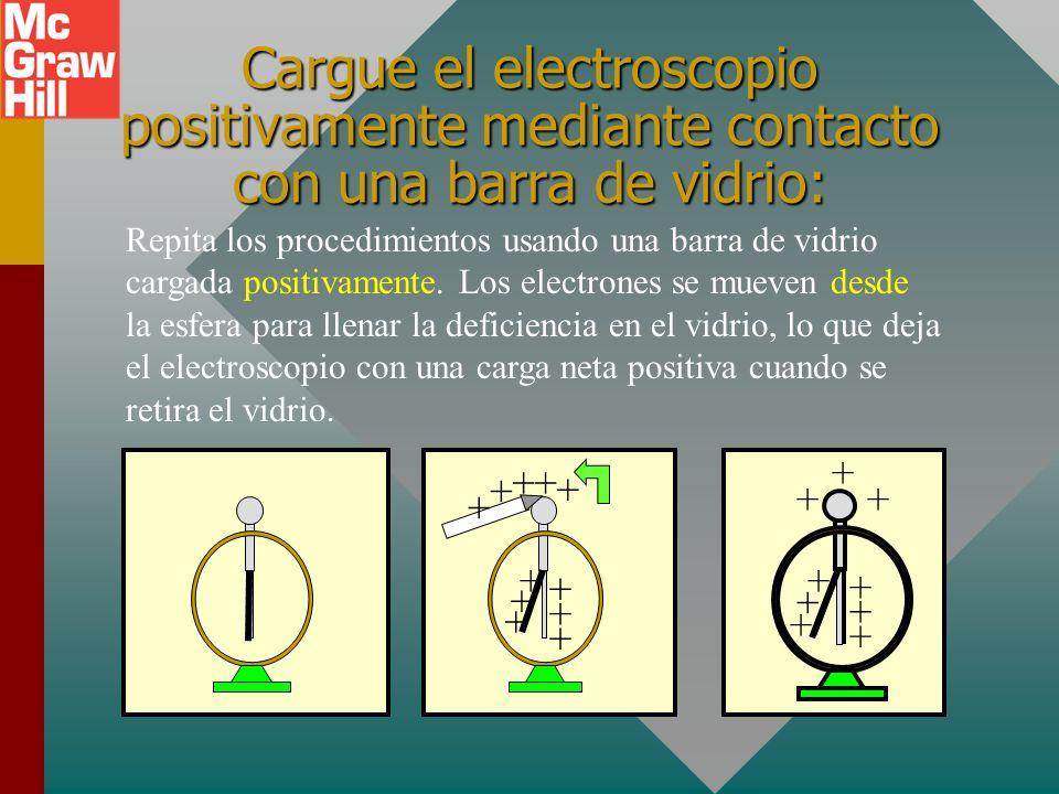 Cargue el electroscopio positivamente mediante contacto con una barra de vidrio: