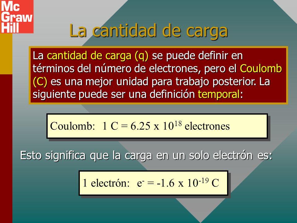 La cantidad de carga Coulomb: 1 C = 6.25 x 1018 electrones