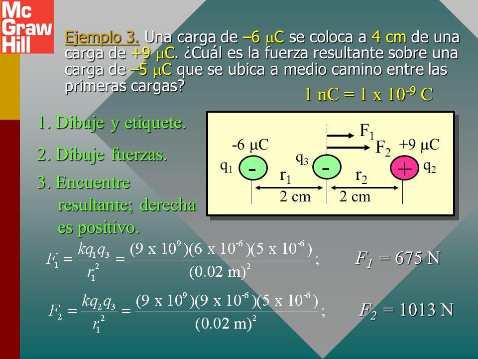 - + 1 nC = 1 x 10-9 C 1. Dibuje y etiquete. r2 r1 F1 F2
