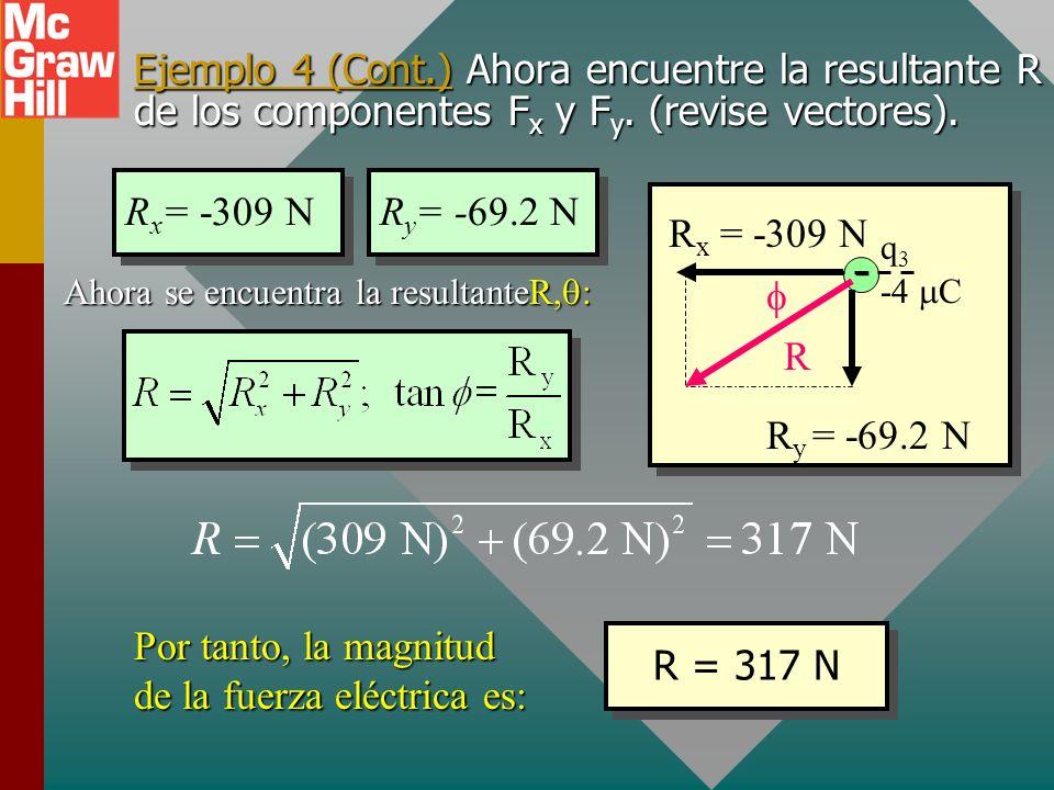 Ejemplo 4 (Cont.) Ahora encuentre la resultante R de los componentes Fx y Fy. (revise vectores).
