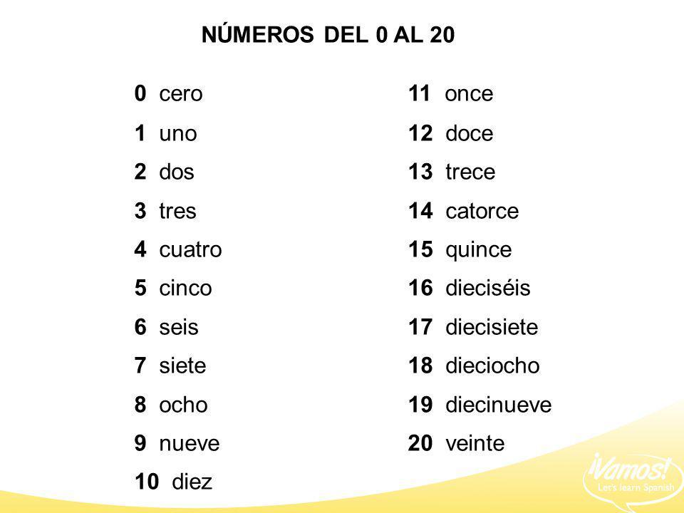 0 cero 11 once NÚMEROS DEL 0 AL 20 1 uno 12 doce 2 dos 13 trece