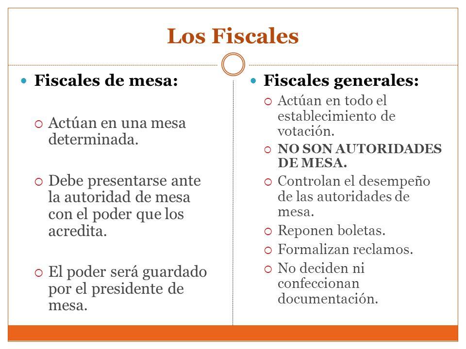 Los Fiscales Fiscales de mesa: Fiscales generales: