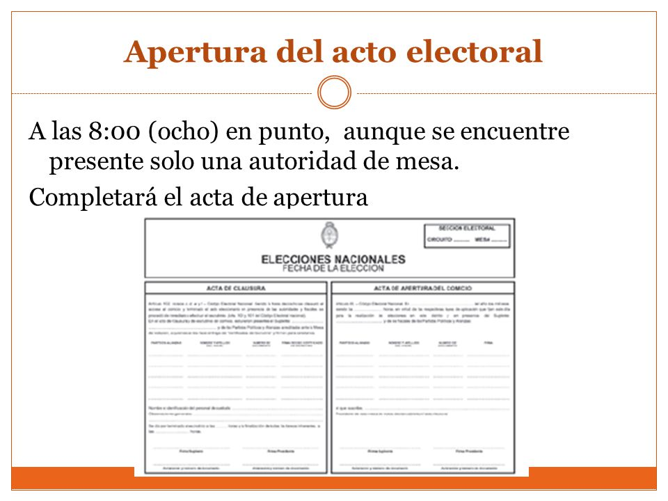 Apertura del acto electoral