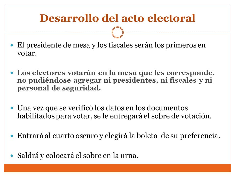Desarrollo del acto electoral