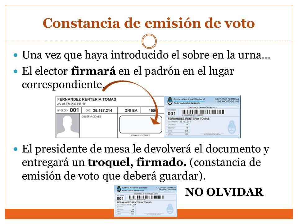 Constancia de emisión de voto