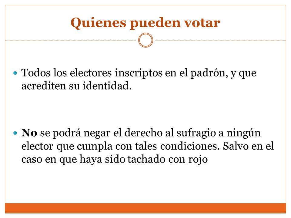 Quienes pueden votar Todos los electores inscriptos en el padrón, y que acrediten su identidad.