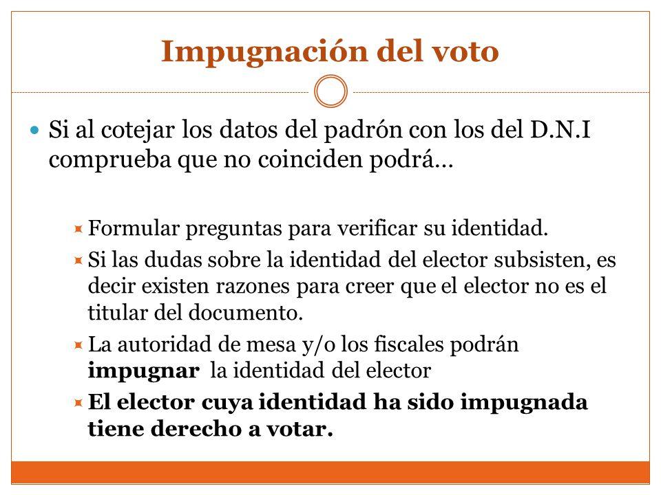 Impugnación del voto Si al cotejar los datos del padrón con los del D.N.I comprueba que no coinciden podrá…