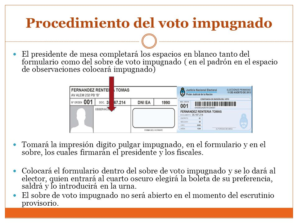Procedimiento del voto impugnado