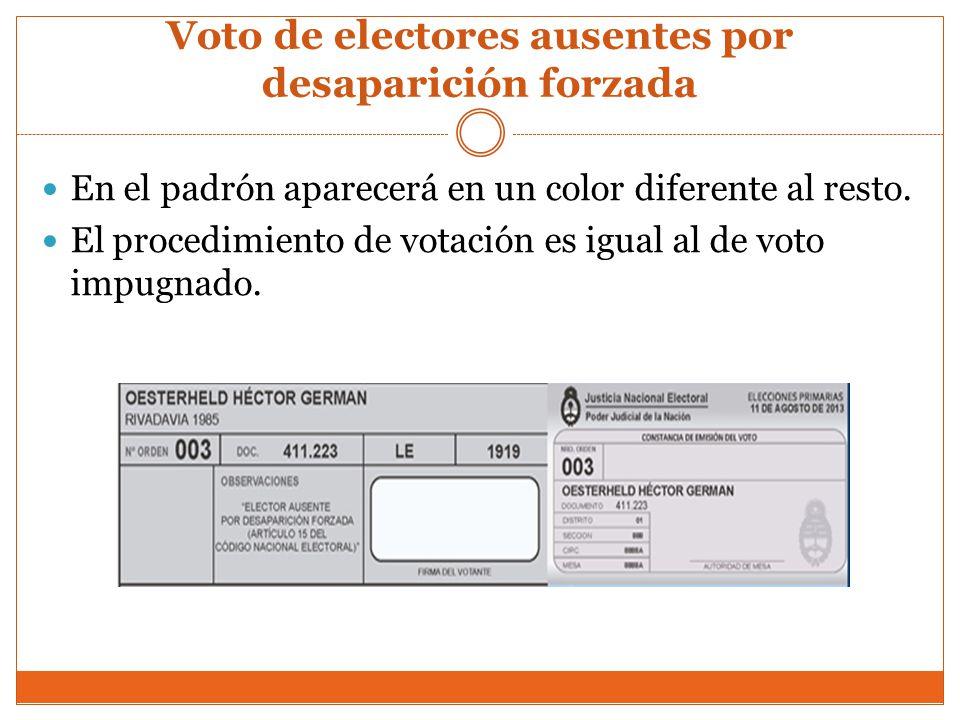 Voto de electores ausentes por desaparición forzada