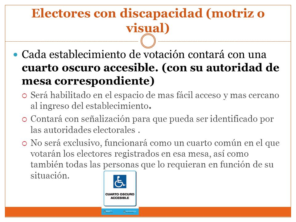 Electores con discapacidad (motriz o visual)