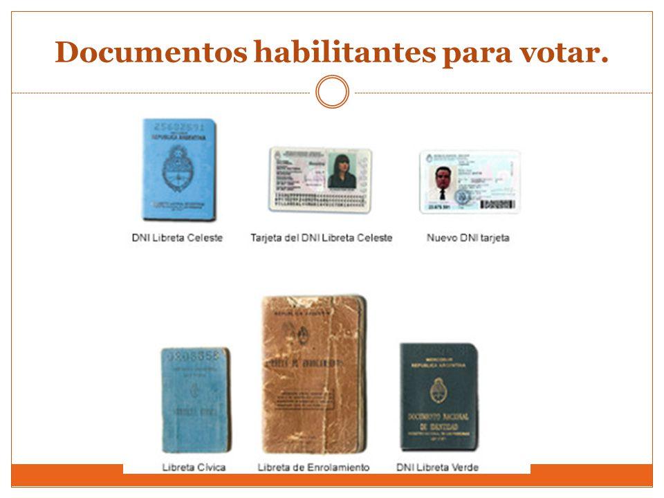 Documentos habilitantes para votar.