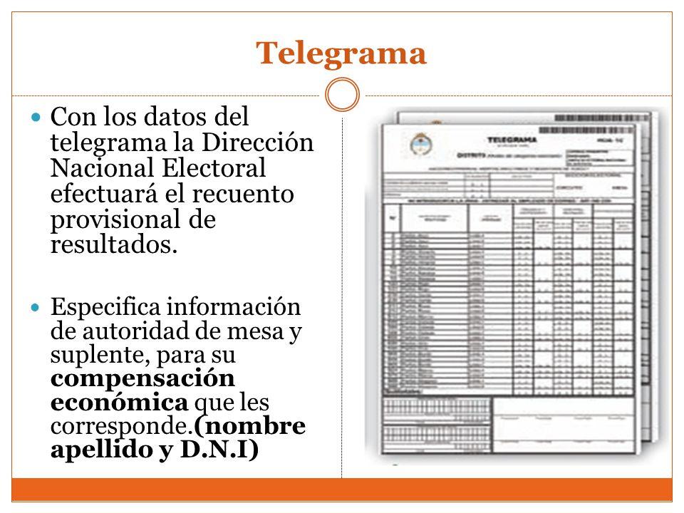Telegrama Con los datos del telegrama la Dirección Nacional Electoral efectuará el recuento provisional de resultados.