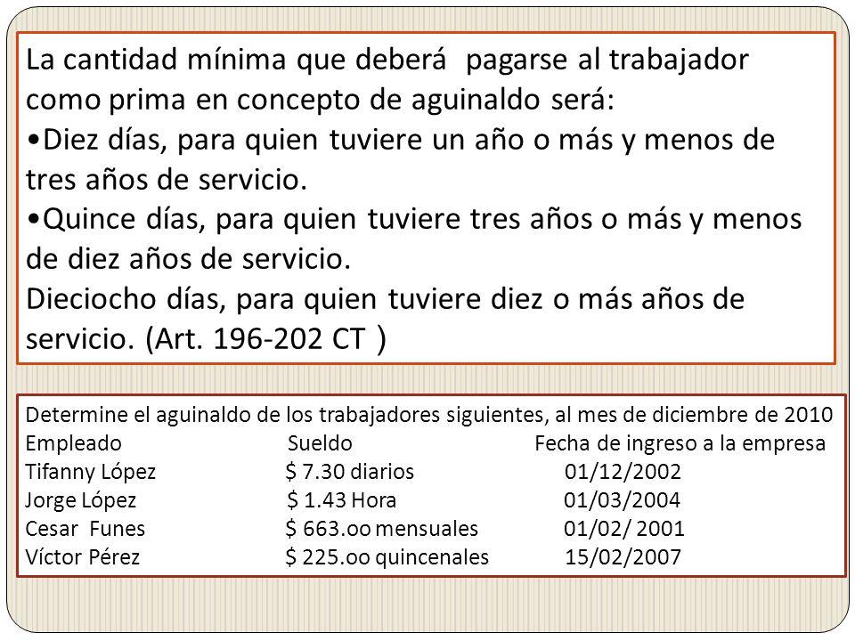 La cantidad mínima que deberá pagarse al trabajador como prima en concepto de aguinaldo será: